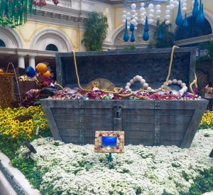 The treasure chest inside of the Conservatory and Botanical Garden in the Bellagio.